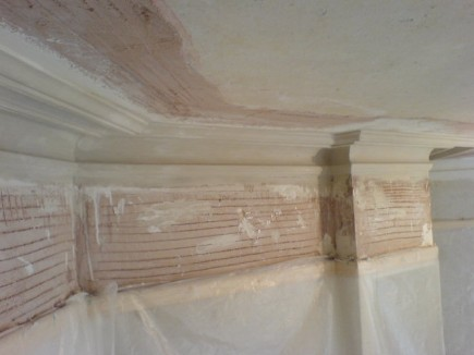 A linen cornice traditonally ran insitu with new plaster